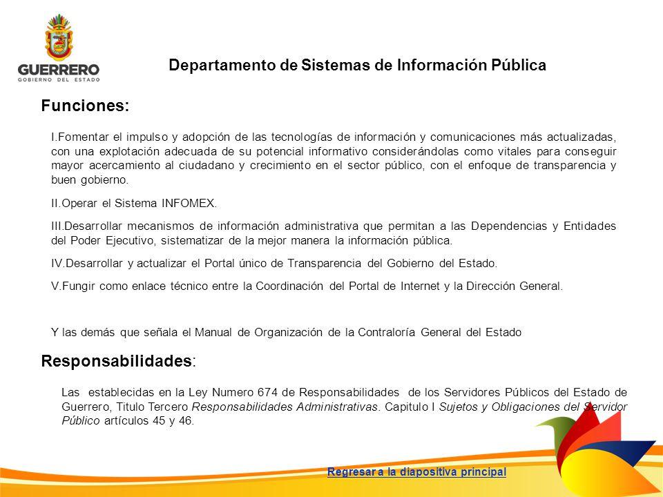 Departamento de Sistemas de Información Pública Funciones: Responsabilidades: Las establecidas en la Ley Numero 674 de Responsabilidades de los Servid