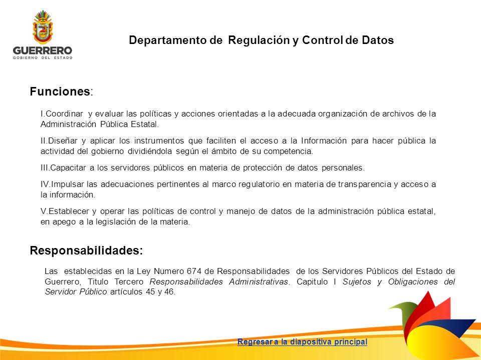 Departamento de Regulación y Control de Datos Funciones: Responsabilidades: Las establecidas en la Ley Numero 674 de Responsabilidades de los Servidor