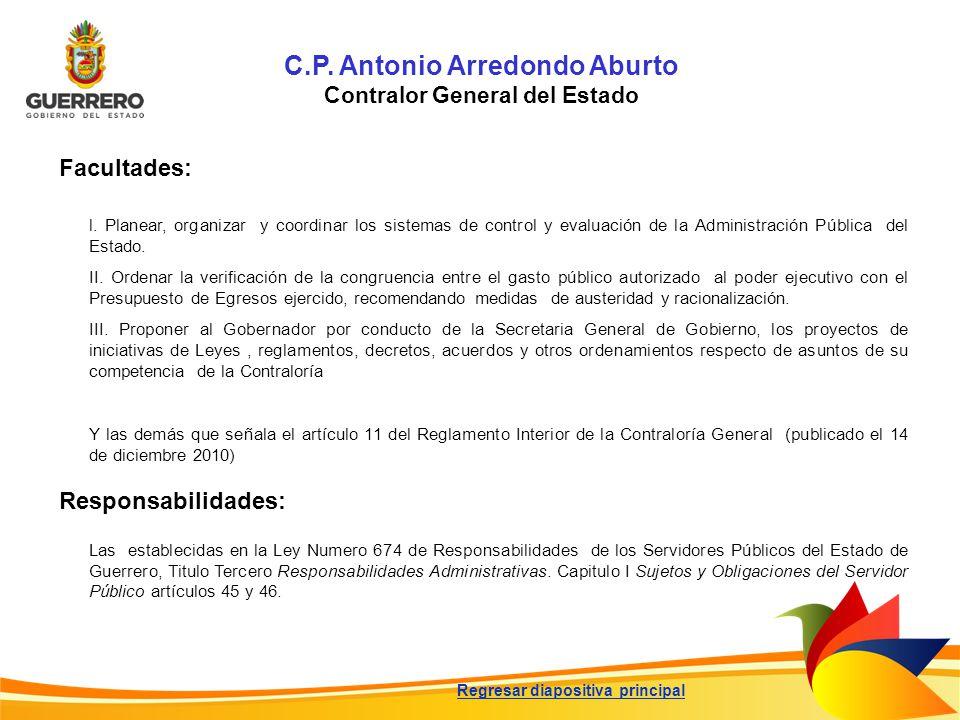 C.P. Antonio Arredondo Aburto Contralor General del Estado l. Planear, organizar y coordinar los sistemas de control y evaluación de la Administración