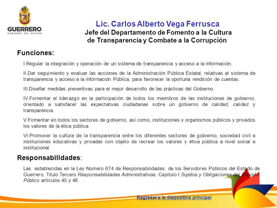 Lic. Carlos Alberto Vega Ferrusca Jefe del Departamento de Fomento a la Cultura de Transparencia y Combate a la Corrupción Funciones: Responsabilidade