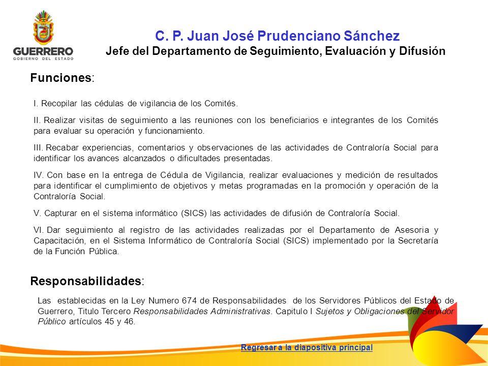C. P. Juan José Prudenciano Sánchez Jefe del Departamento de Seguimiento, Evaluación y Difusión Funciones: Responsabilidades: Las establecidas en la L