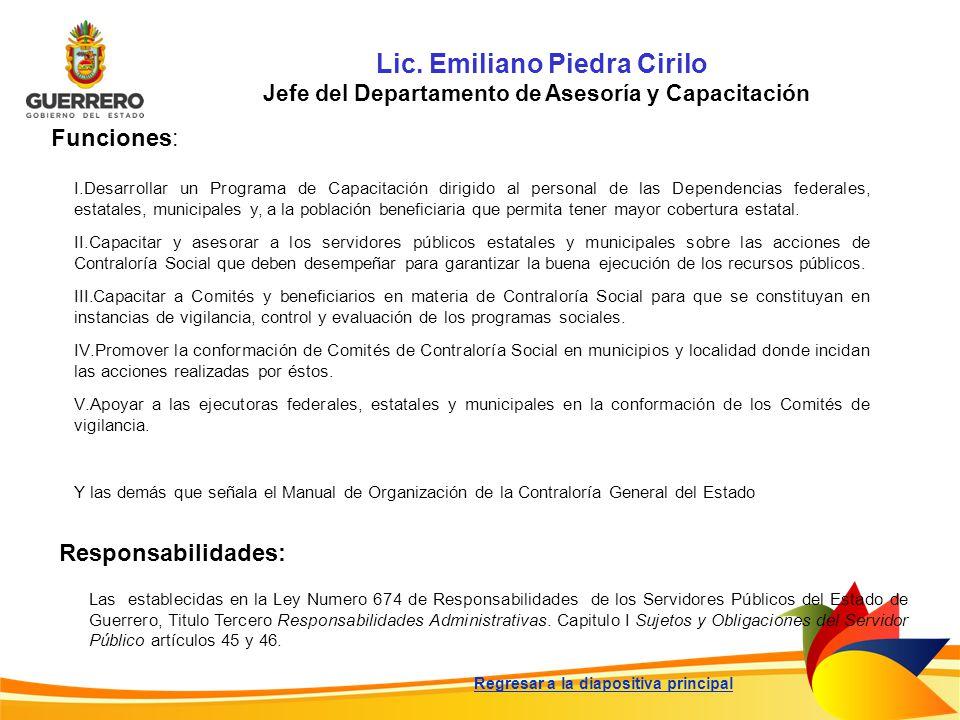 Lic. Emiliano Piedra Cirilo Jefe del Departamento de Asesoría y Capacitación Funciones: Responsabilidades: Las establecidas en la Ley Numero 674 de Re