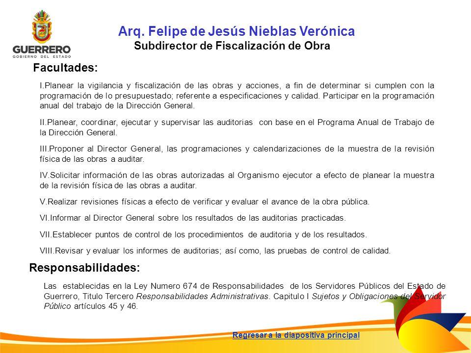 Arq. Felipe de Jesús Nieblas Verónica Subdirector de Fiscalización de Obra Facultades: Responsabilidades: Las establecidas en la Ley Numero 674 de Res