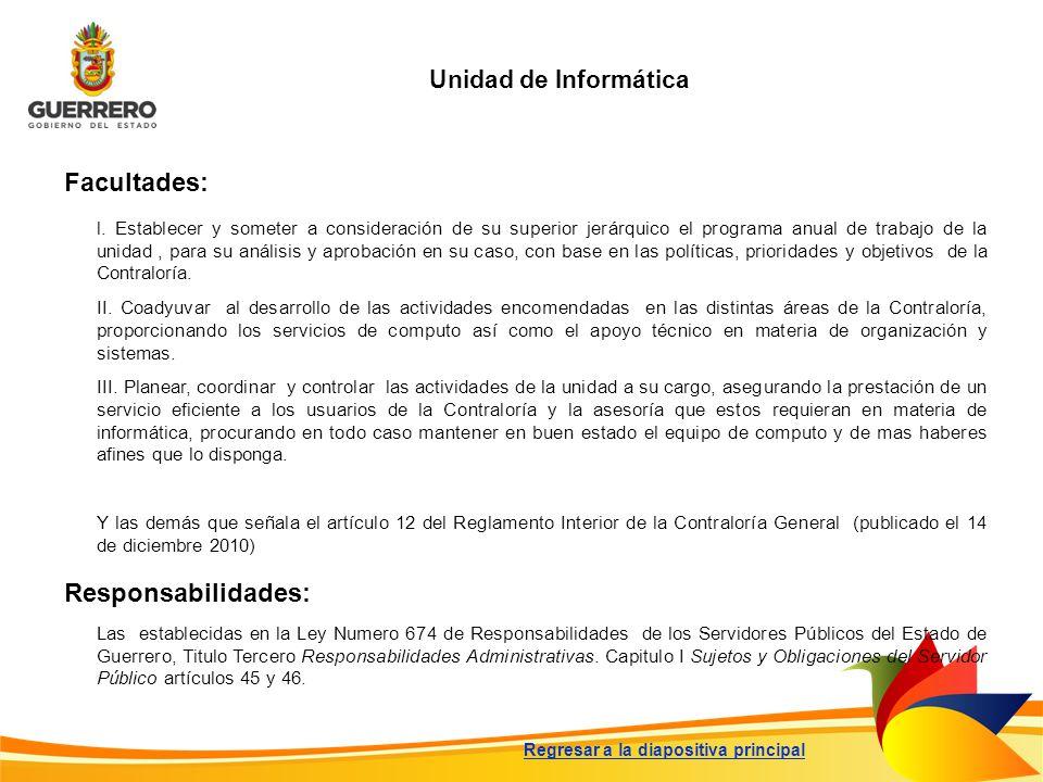 Unidad de Informática Regresar a la diapositiva principal Facultades: Responsabilidades: l. Establecer y someter a consideración de su superior jerárq