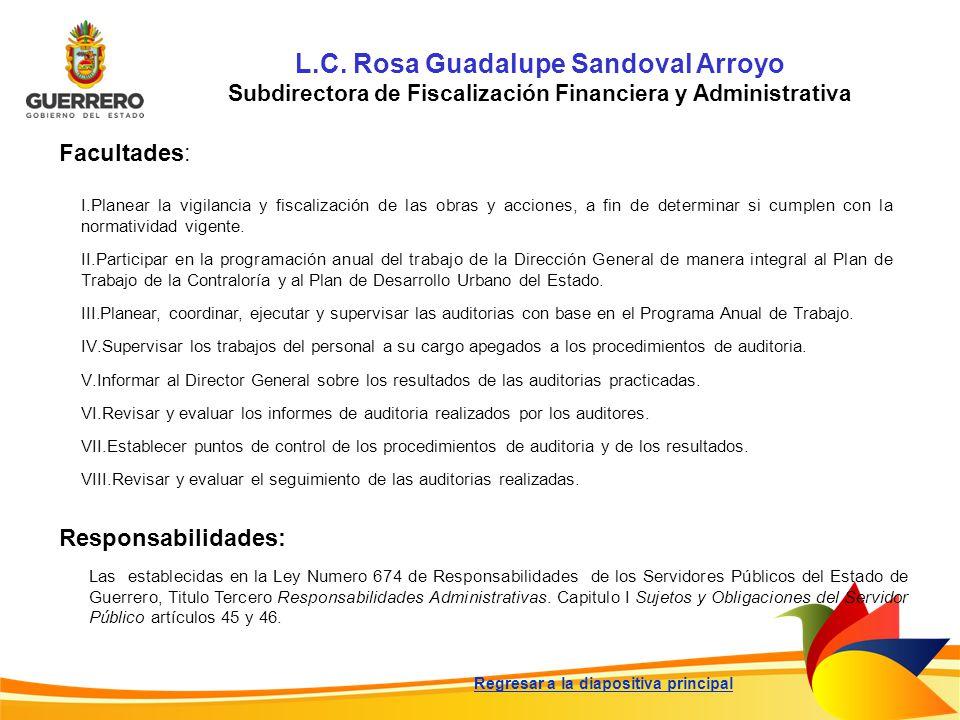 L.C. Rosa Guadalupe Sandoval Arroyo Subdirectora de Fiscalización Financiera y Administrativa Facultades: Responsabilidades: Las establecidas en la Le
