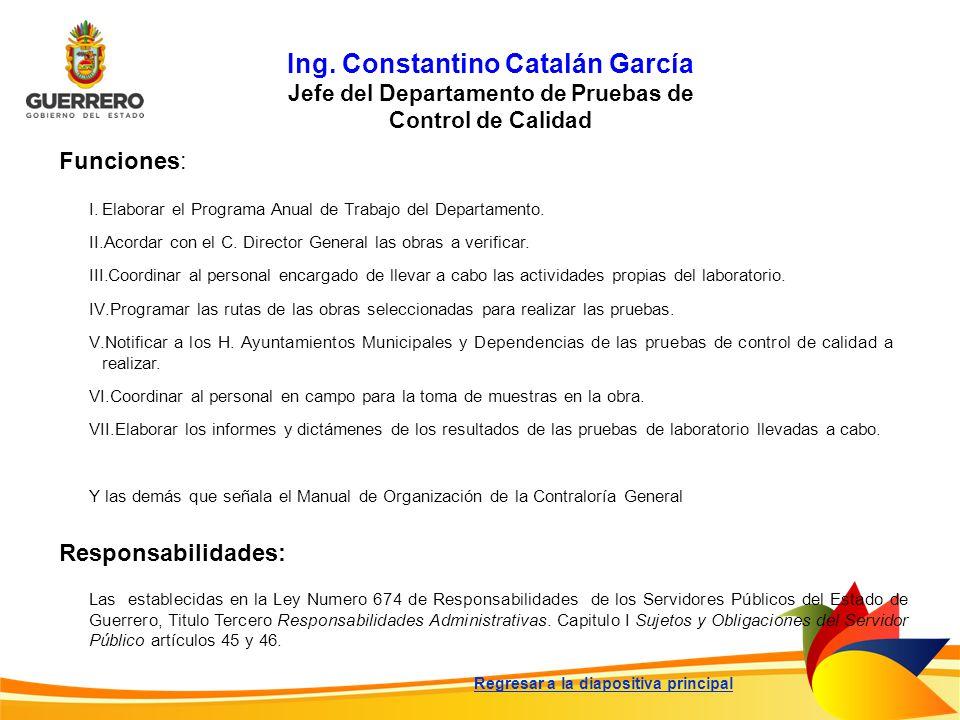 Ing. Constantino Catalán García Jefe del Departamento de Pruebas de Control de Calidad Funciones: Responsabilidades: Las establecidas en la Ley Numero