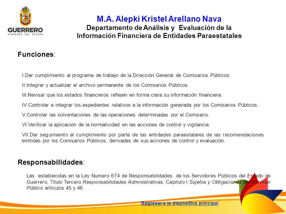M.A. Alepki Kristel Arellano Nava Departamento de Análisis y Evaluación de la Información Financiera de Entidades Paraestatales Funciones: Responsabil