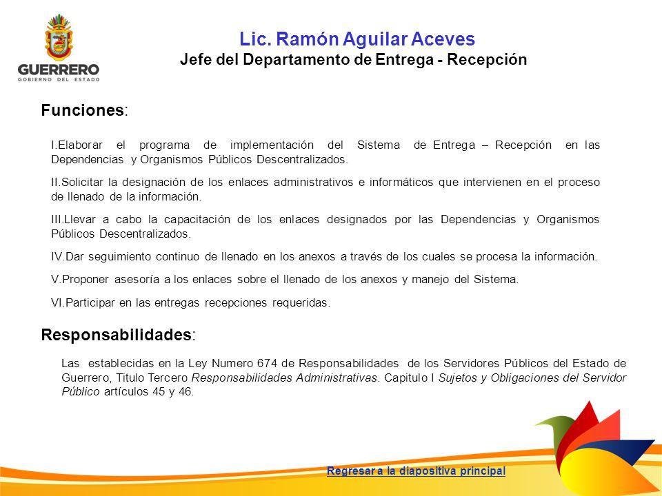 Lic. Ramón Aguilar Aceves Jefe del Departamento de Entrega - Recepción Funciones: Responsabilidades: Las establecidas en la Ley Numero 674 de Responsa
