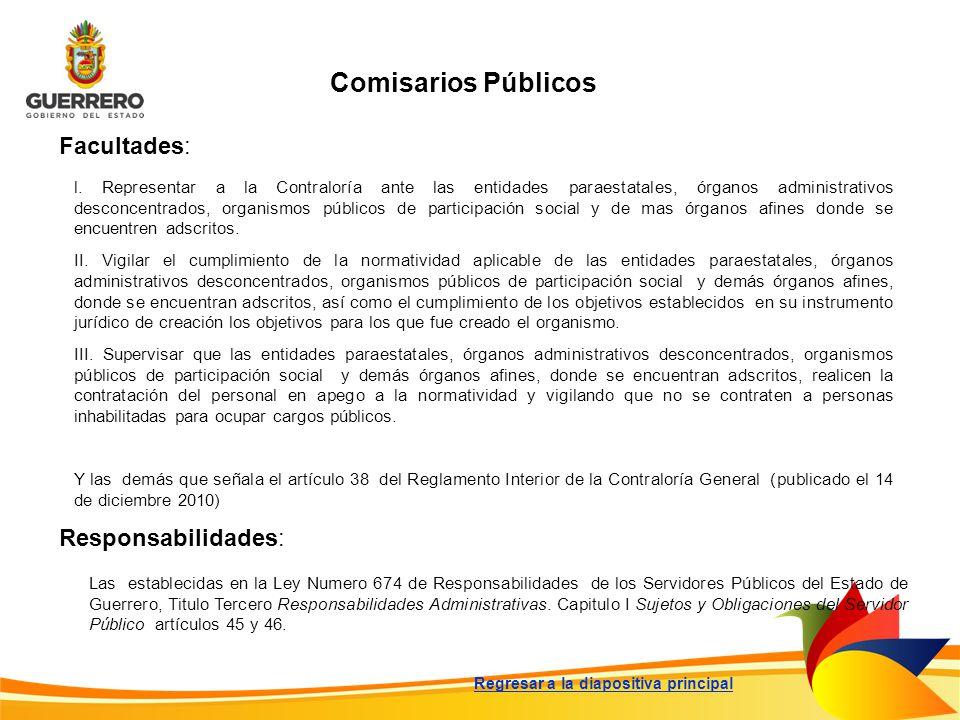 Comisarios Públicos Facultades: Responsabilidades: Las establecidas en la Ley Numero 674 de Responsabilidades de los Servidores Públicos del Estado de