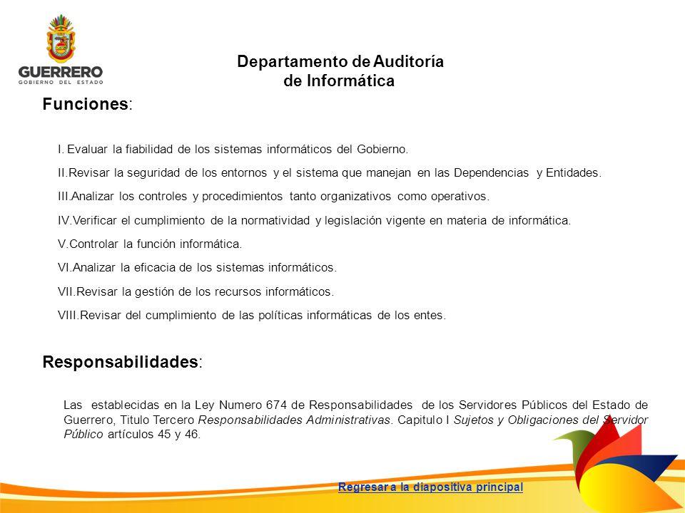 Departamento de Auditoría de Informática Funciones: Responsabilidades: Las establecidas en la Ley Numero 674 de Responsabilidades de los Servidores Pú