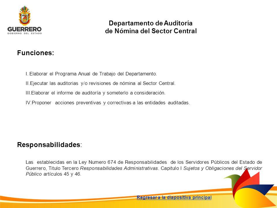 Departamento de Auditoría de Nómina del Sector Central Funciones: Responsabilidades: Las establecidas en la Ley Numero 674 de Responsabilidades de los