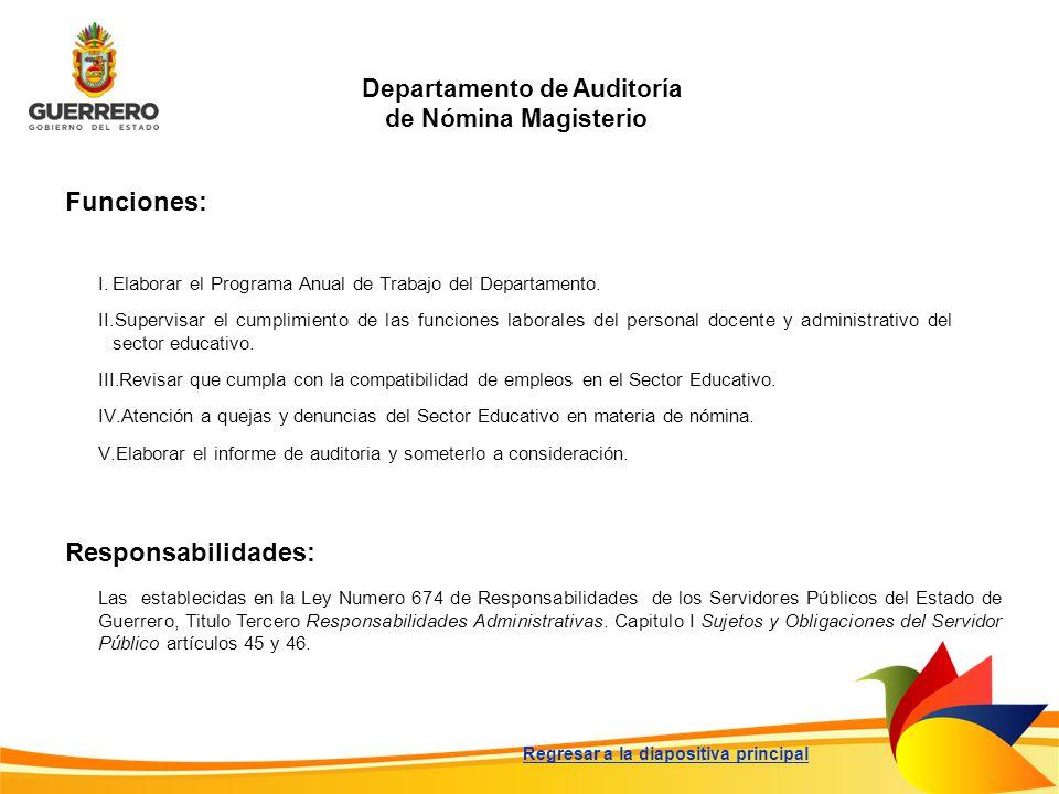 Departamento de Auditoría de Nómina Magisterio Funciones: Responsabilidades: Las establecidas en la Ley Numero 674 de Responsabilidades de los Servido