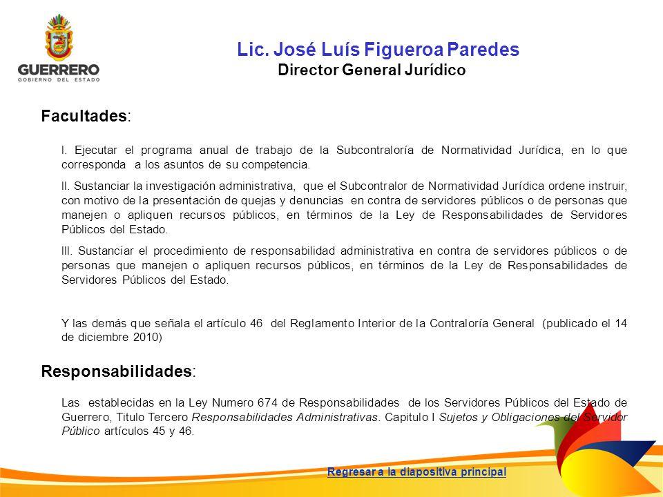 Lic. José Luís Figueroa Paredes Director General Jurídico Facultades: Responsabilidades: Las establecidas en la Ley Numero 674 de Responsabilidades de