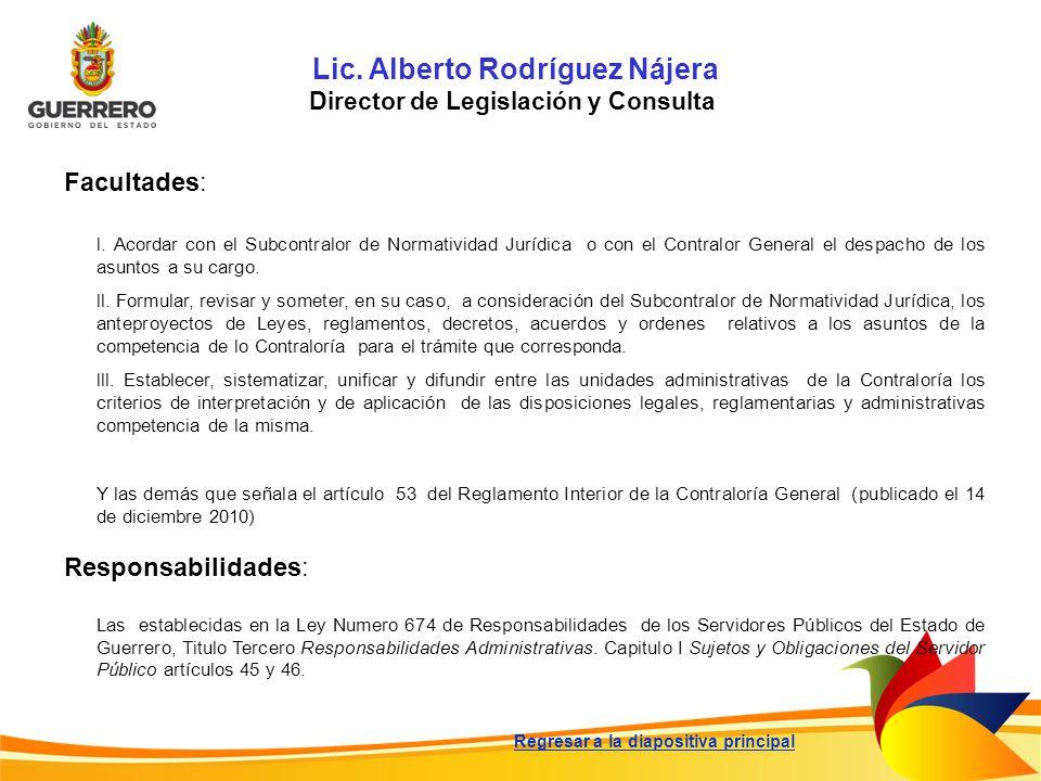 Lic. Alberto Rodríguez Nájera Director de Legislación y Consulta Facultades: Responsabilidades: Las establecidas en la Ley Numero 674 de Responsabilid