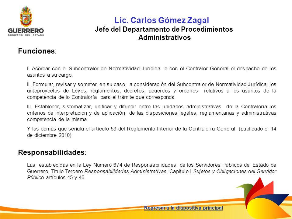 Lic. Carlos Gómez Zagal Jefe del Departamento de Procedimientos Administrativos Funciones: Responsabilidades: Las establecidas en la Ley Numero 674 de
