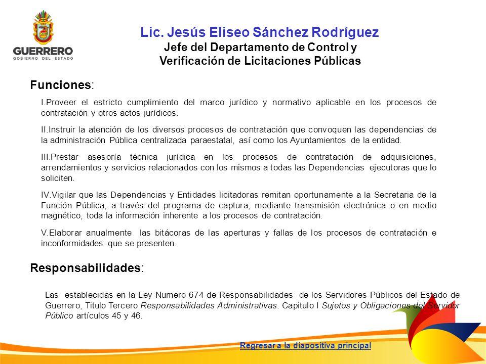 Lic. Jesús Eliseo Sánchez Rodríguez Jefe del Departamento de Control y Verificación de Licitaciones Públicas Funciones: Responsabilidades: Las estable