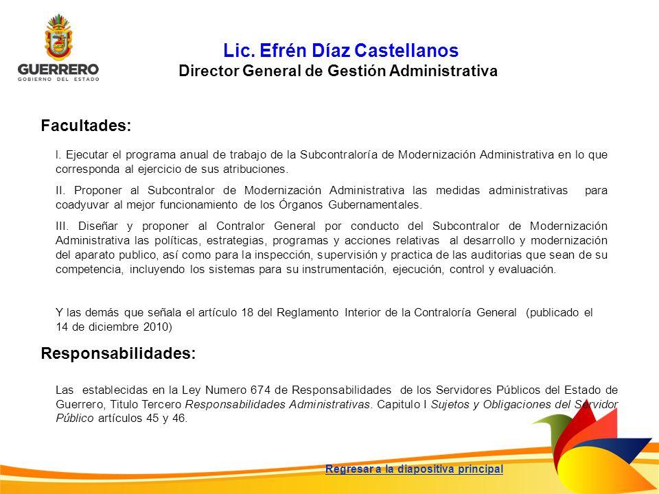 Lic. Efrén Díaz Castellanos Director General de Gestión Administrativa Facultades: Responsabilidades: l. Ejecutar el programa anual de trabajo de la S