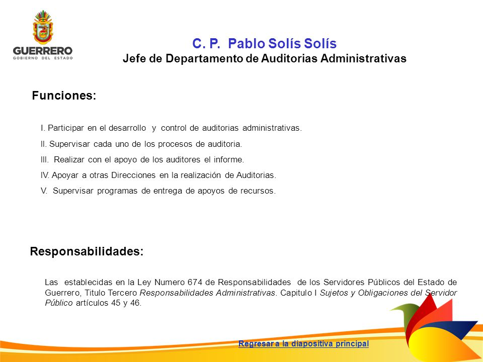 C. P. Pablo Solís Solís Jefe de Departamento de Auditorias Administrativas Funciones: Responsabilidades: I. Participar en el desarrollo y control de a