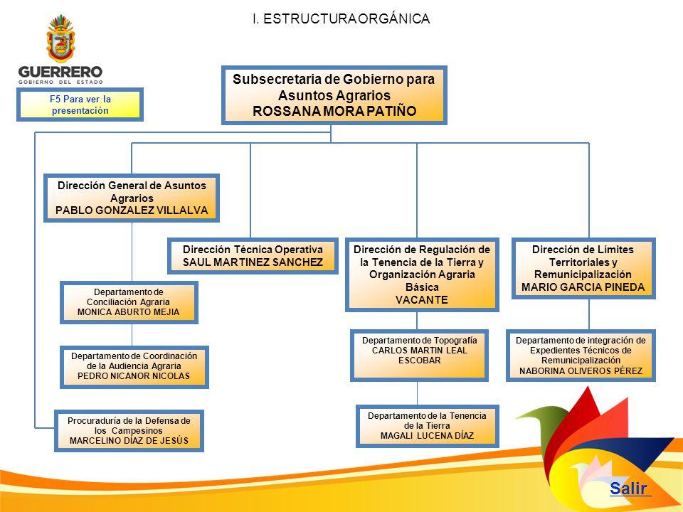 Subsecretaria de Gobierno para Asuntos Agrarios ROSSANA MORA PATIÑO Dirección General de Asuntos Agrarios PABLO GONZALEZ VILLALVA Salir I. ESTRUCTURA
