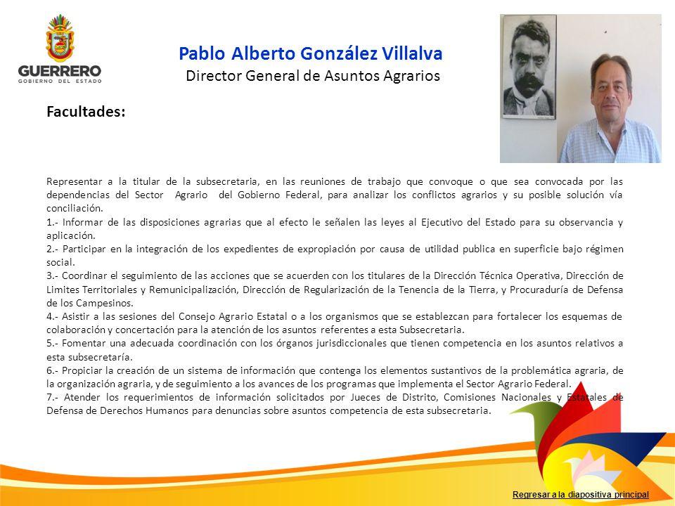 Regresar a la diapositiva principal Pablo Alberto González Villalva Director General de Asuntos Agrarios Facultades: Representar a la titular de la su