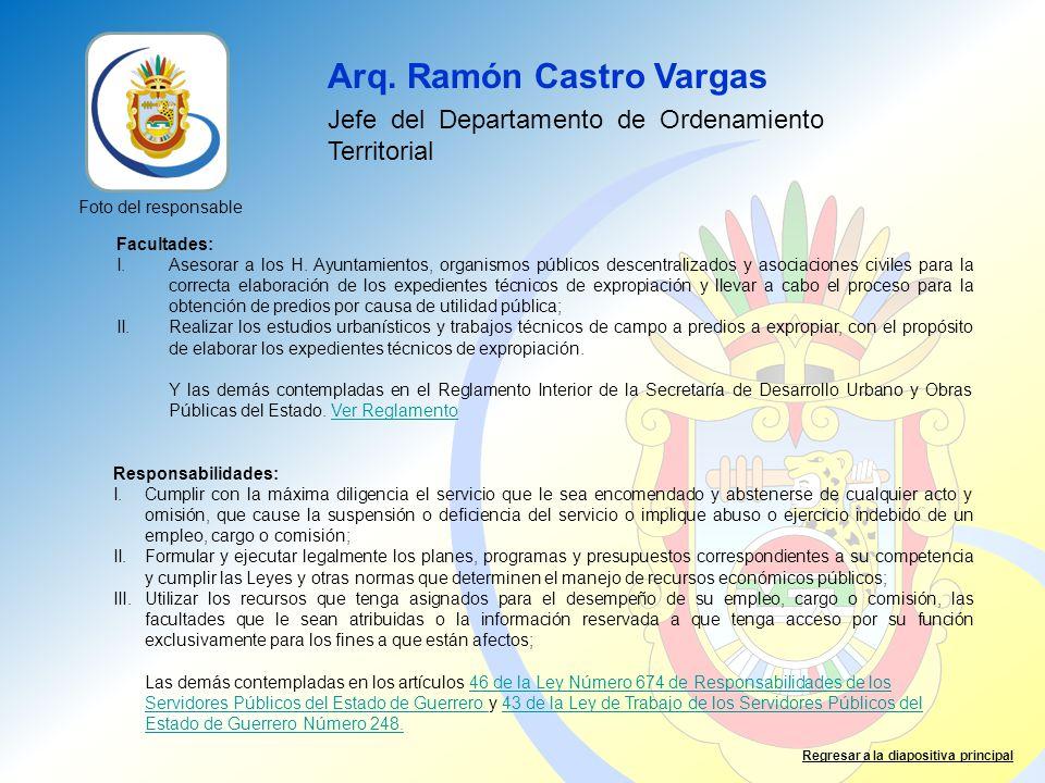 Arq. Ramón Castro Vargas Jefe del Departamento de Ordenamiento Territorial Facultades: I.Asesorar a los H. Ayuntamientos, organismos públicos descentr