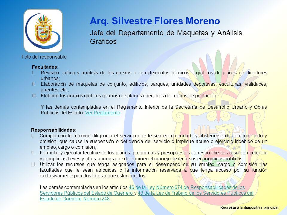 Arq. Silvestre Flores Moreno Jefe del Departamento de Maquetas y Análisis Gráficos Facultades: I.Revisión, crítica y análisis de los anexos o compleme