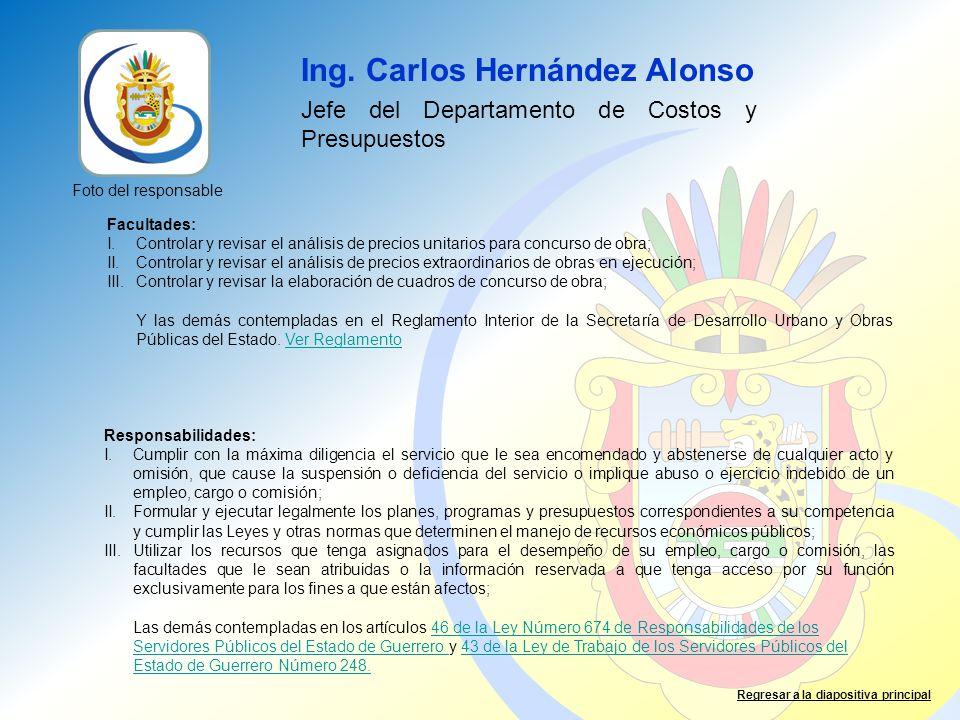 Ing. Carlos Hernández Alonso Jefe del Departamento de Costos y Presupuestos Facultades: I.Controlar y revisar el análisis de precios unitarios para co