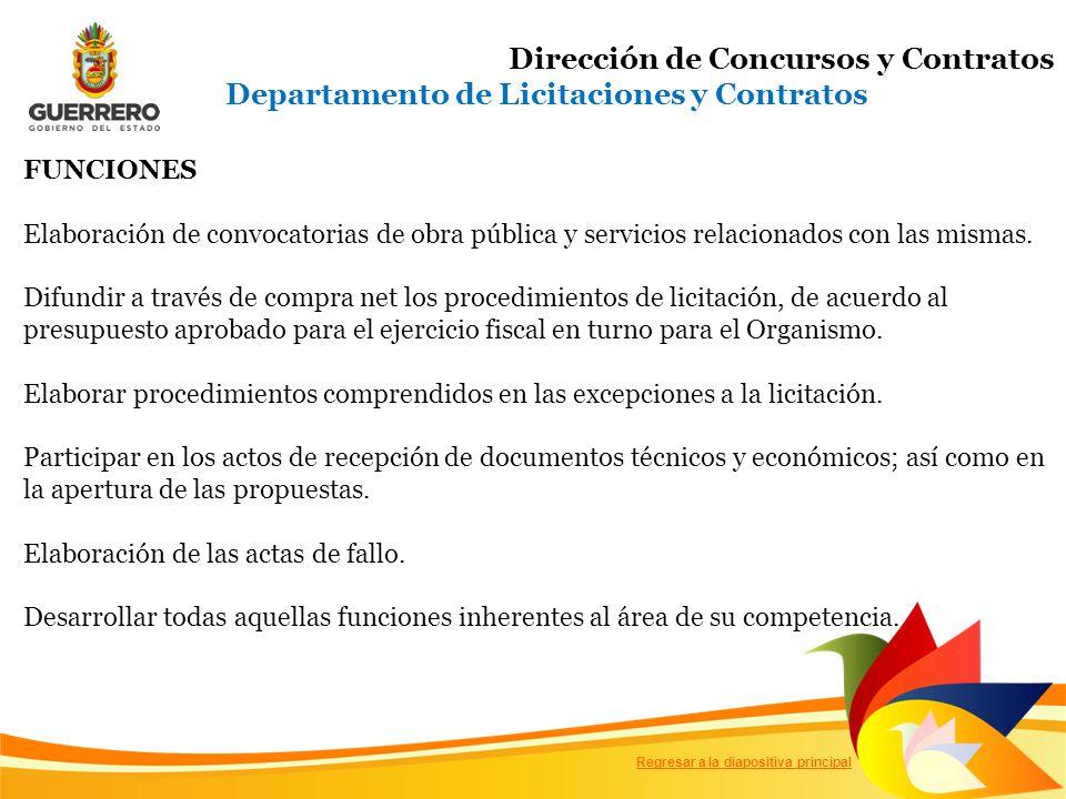 FUNCIONES Elaboración de convocatorias de obra pública y servicios relacionados con las mismas.