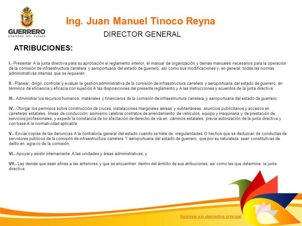 Ing. Juan Manuel Tinoco Reyna DIRECTOR GENERAL I.- Presentar A la junta directiva para su aprobación el reglamento interior, el manual de organización