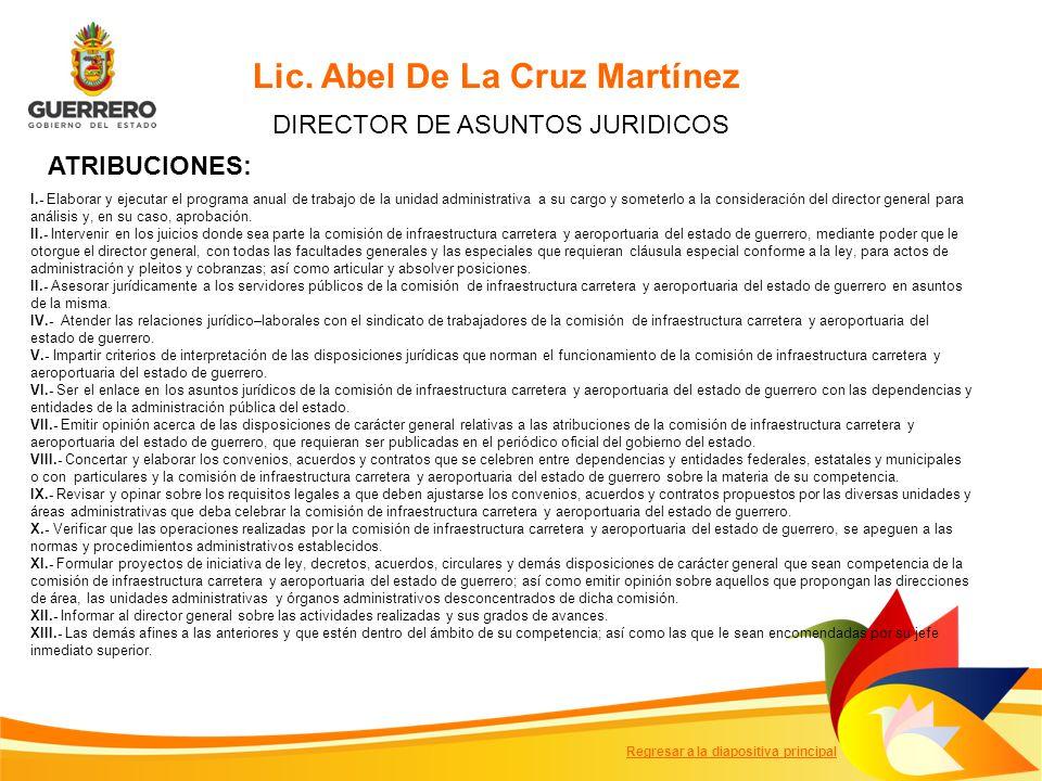 Lic. Abel De La Cruz Martínez DIRECTOR DE ASUNTOS JURIDICOS I.- Elaborar y ejecutar el programa anual de trabajo de la unidad administrativa a su carg