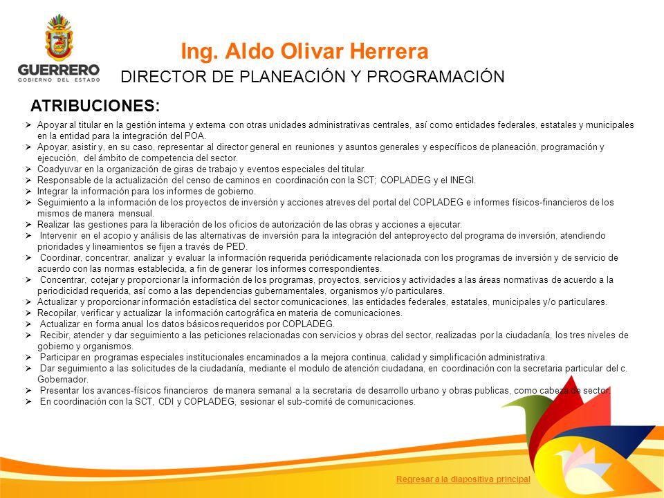 Ing. Aldo Olivar Herrera DIRECTOR DE PLANEACIÓN Y PROGRAMACIÓN Apoyar al titular en la gestión interna y externa con otras unidades administrativas ce