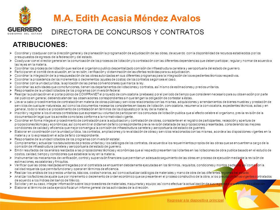 M.A. Edith Acasia Méndez Avalos DIRECTORA DE CONCURSOS Y CONTRATOS ATRIBUCIONES: Coordinar y coadyuvar con la dirección general y de planeación la pro