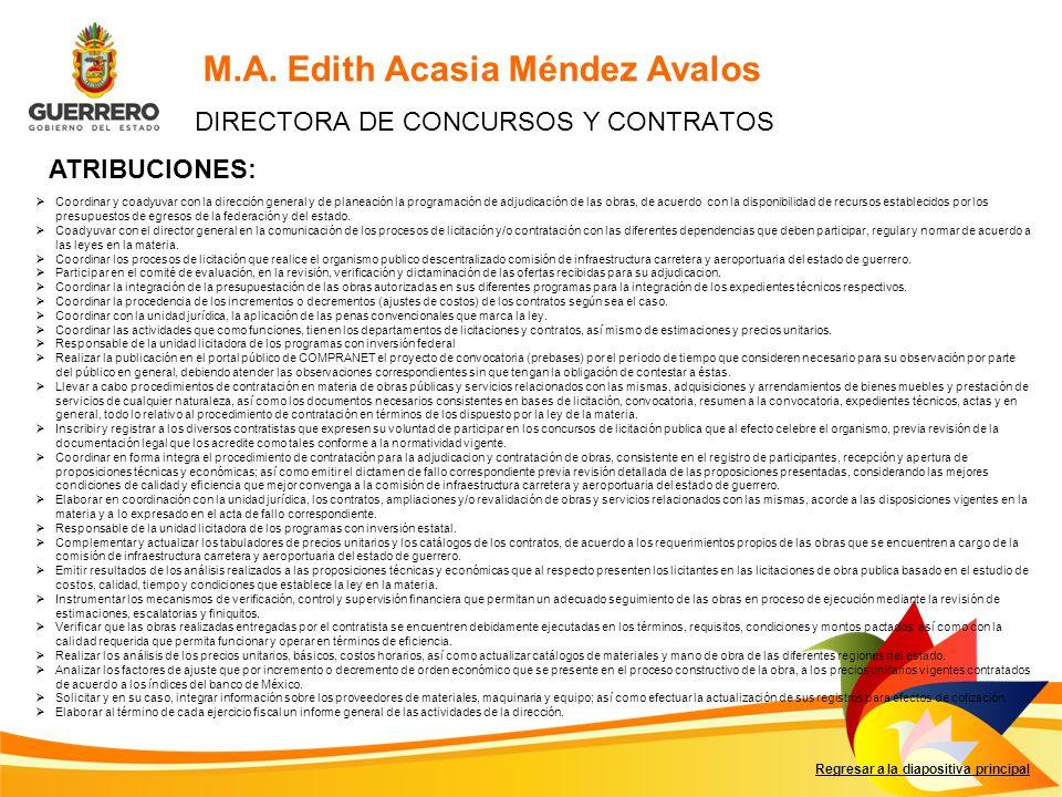 Regresar a la diapositiva principal M.A. Edith Acasia Méndez Avalos DIRECTORA DE CONCURSOS Y CONTRATOS ATRIBUCIONES: Coordinar y coadyuvar con la dire