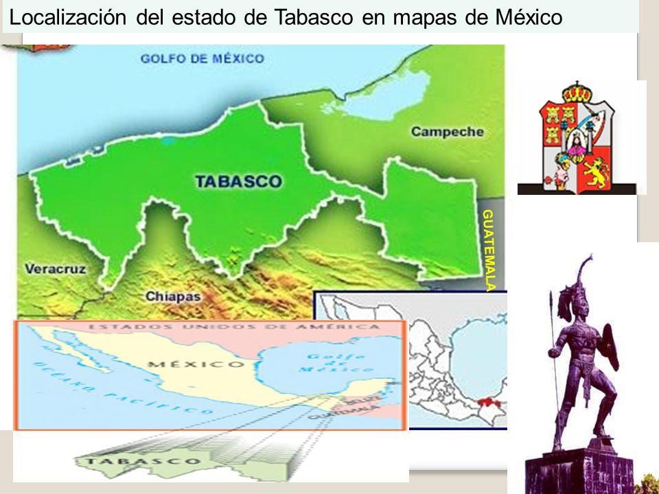GUATEMALA Localización del estado de Tabasco en mapas de México