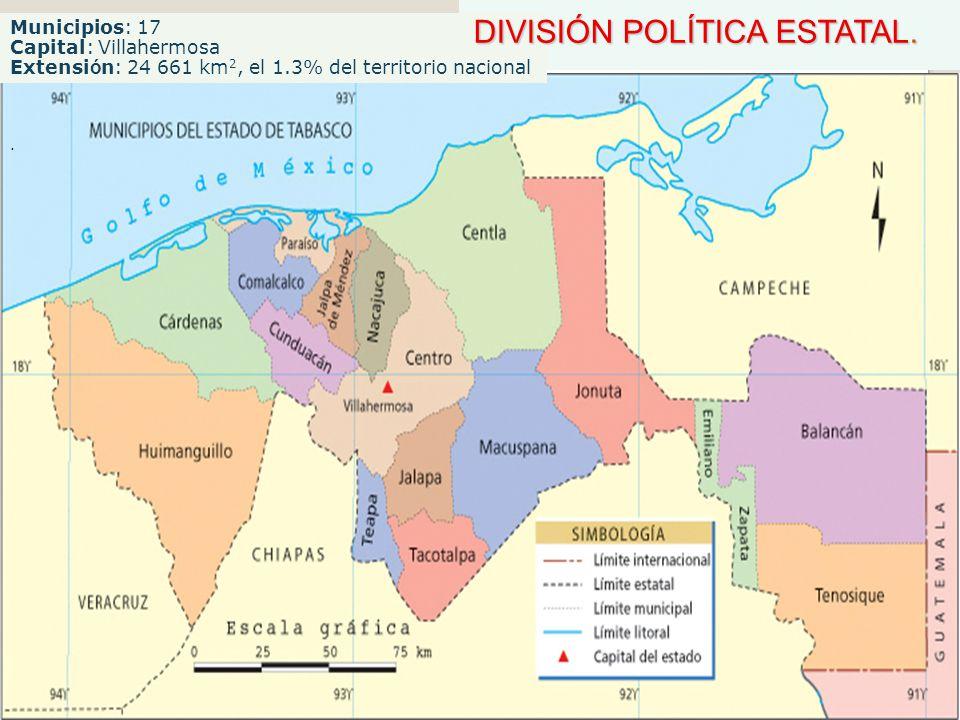 Municipios: 17 Capital: Villahermosa Extensi ó n: 24 661 km 2, el 1.3% del territorio nacional DIVISIÓN POLÍTICA ESTATAL. DIVISIÓN POLÍTICA ESTATAL..