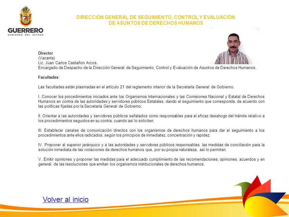 Director (Vacante) Lic. Juan Carlos Castañon Arcos. Encargado de Despacho de la Dirección General de Seguimiento, Control y Evaluación de Asuntos de D