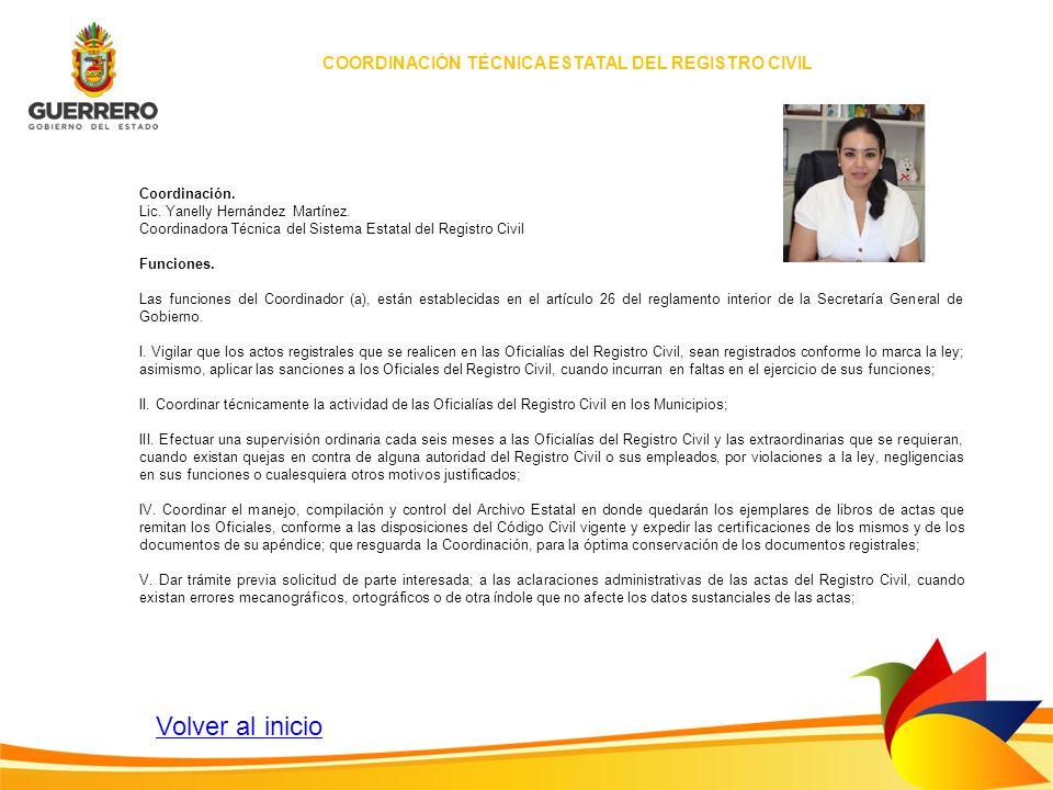 Coordinación. Lic. Yanelly Hernández Martínez. Coordinadora Técnica del Sistema Estatal del Registro Civil Funciones. Las funciones del Coordinador (a