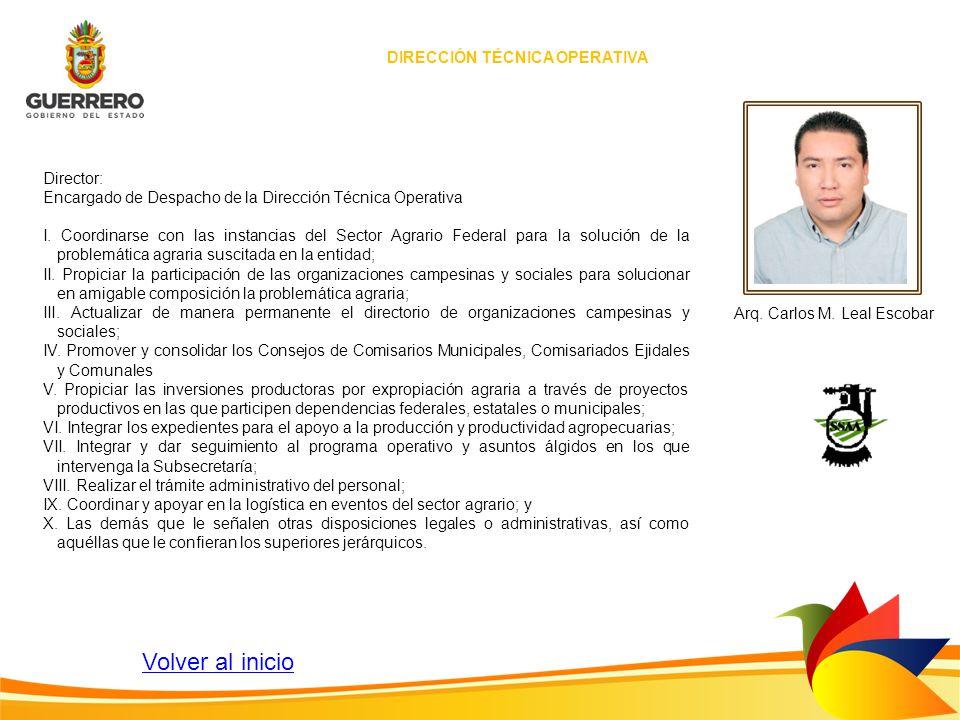 Director: Encargado de Despacho de la Dirección Técnica Operativa I. Coordinarse con las instancias del Sector Agrario Federal para la solución de la