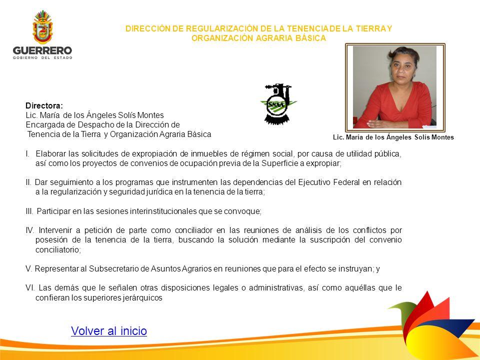 Directora: Lic. María de los Ángeles Solís Montes Encargada de Despacho de la Dirección de Tenencia de la Tierra y Organización Agraria Básica I.Elabo