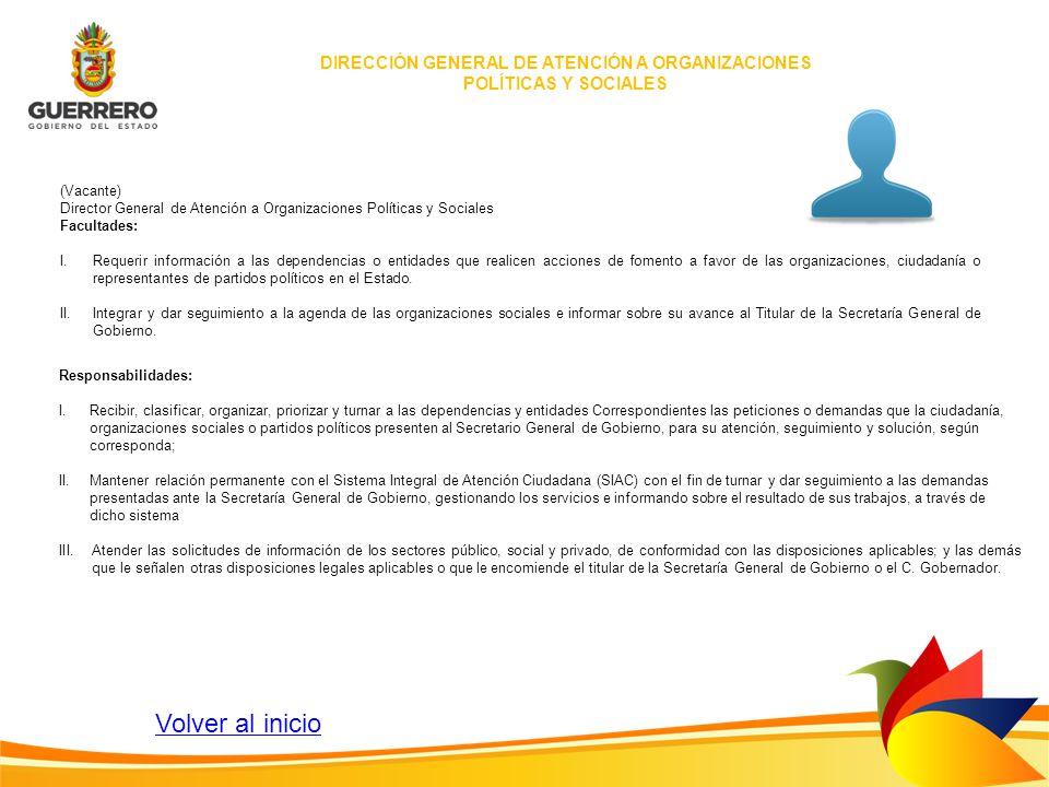 DIRECCIÓN GENERAL DE ATENCIÓN A ORGANIZACIONES POLÍTICAS Y SOCIALES (Vacante) Director General de Atención a Organizaciones Políticas y Sociales Facul