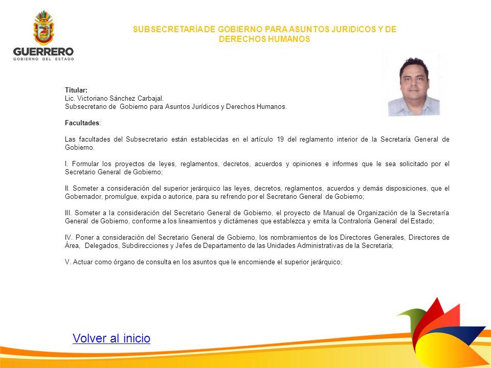 SUBSECRETARÍA DE GOBIERNO PARA ASUNTOS JURIDICOS Y DE DERECHOS HUMANOS Titular: Lic. Victoriano Sánchez Carbajal. Subsecretario de Gobierno para Asunt