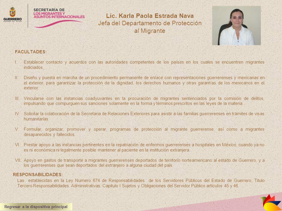 Lic. Karla Paola Estrada Nava Jefa del Departamento de Protección al Migrante FACULTADES: I.Establecer contacto y acuerdos con las autoridades compete