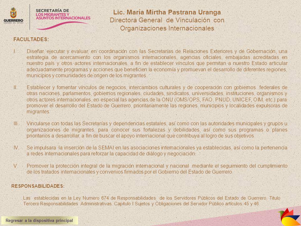 Lic. María Mirtha Pastrana Uranga Directora General de Vinculación con Organizaciones Internacionales RESPONSABILIDADES: Las establecidas en la Ley Nu