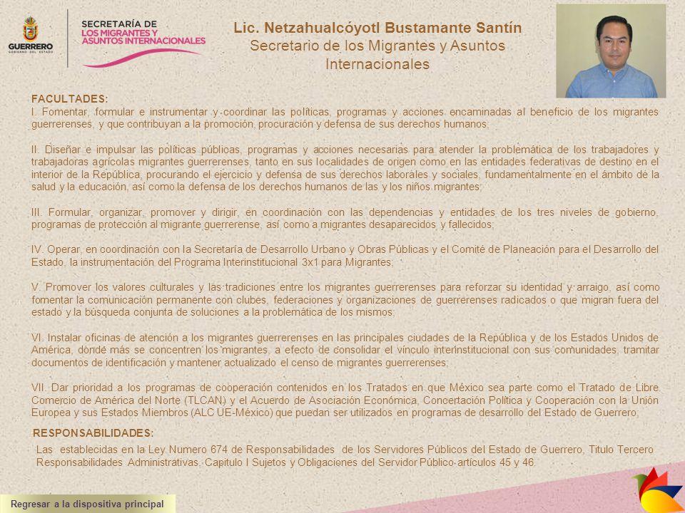 Lic. Netzahualcóyotl Bustamante Santín Secretario de los Migrantes y Asuntos Internacionales FACULTADES: I. Fomentar, formular e instrumentar y coordi