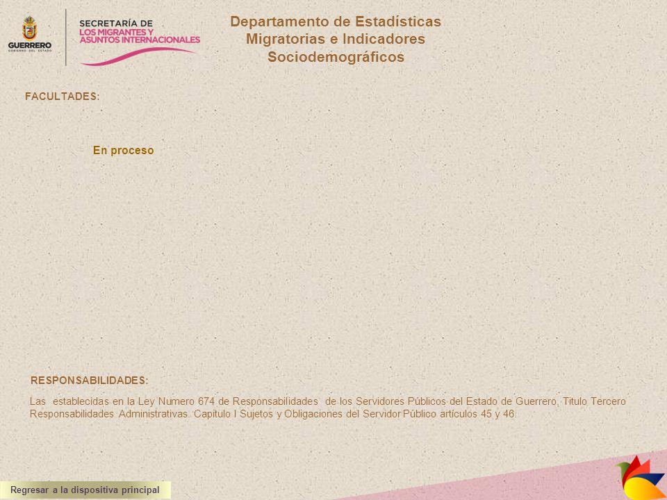 Departamento de Estadísticas Migratorias e Indicadores Sociodemográficos FACULTADES: RESPONSABILIDADES: Las establecidas en la Ley Numero 674 de Respo