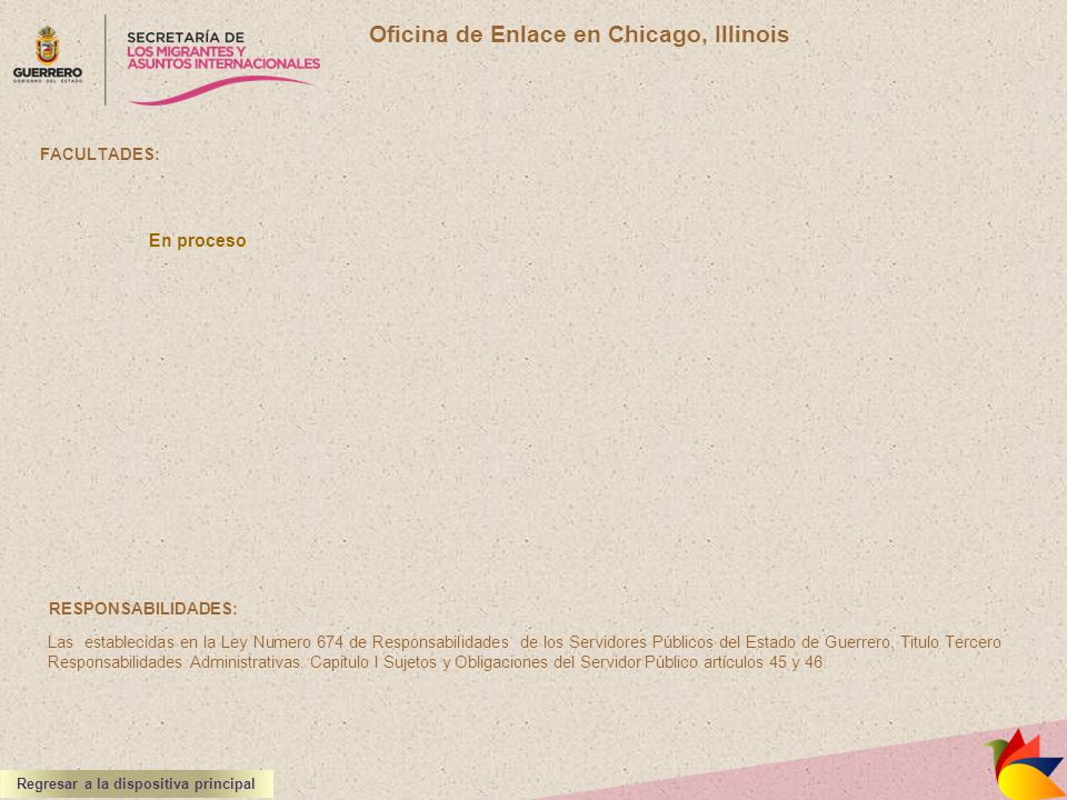 Oficina de Enlace en Chicago, Illinois FACULTADES: RESPONSABILIDADES: Las establecidas en la Ley Numero 674 de Responsabilidades de los Servidores Púb