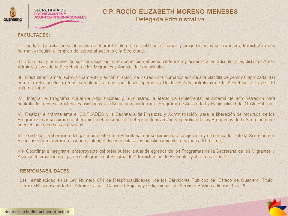 C.P. ROCÍO ELIZABETH MORENO MENESES Delegada Administrativa RESPONSABILIDADES: Las establecidas en la Ley Numero 674 de Responsabilidades de los Servi