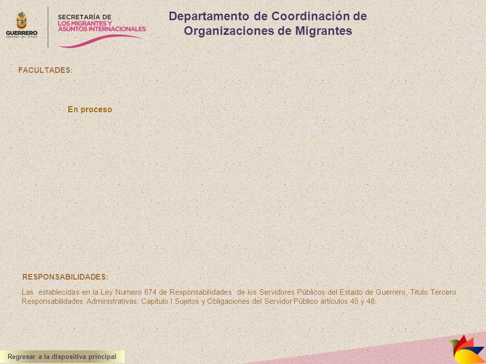 Departamento de Coordinación de Organizaciones de Migrantes FACULTADES: RESPONSABILIDADES: Las establecidas en la Ley Numero 674 de Responsabilidades