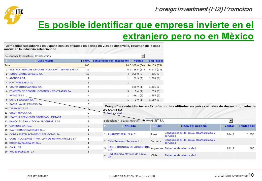Investment Map Foreign Investment (FDI) Promotion Cuidad de Mexico, 11 – 03 - 2008 070722-IMap-Overview-Sp- 10 Es posible identificar que empresa invi
