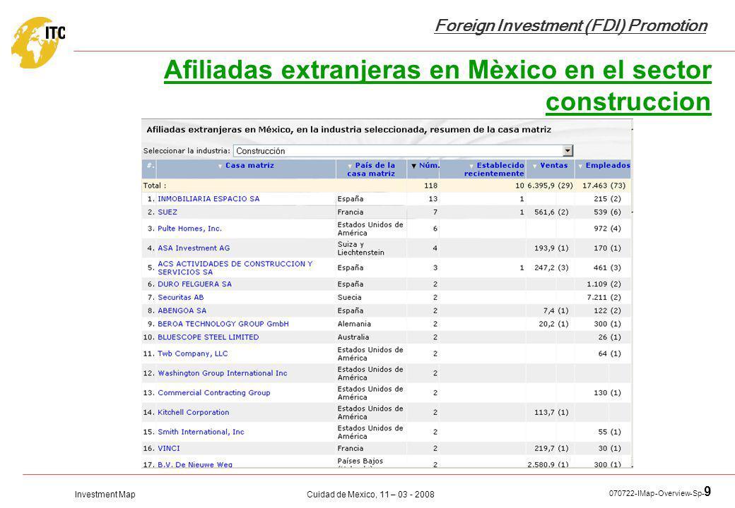 Investment Map Foreign Investment (FDI) Promotion Cuidad de Mexico, 11 – 03 - 2008 070722-IMap-Overview-Sp- 9 Afiliadas extranjeras en Mèxico en el se